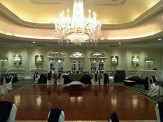 This the Magnolia Ballroom before we added uplighting, dance lighting and dimmed the overhead lights.  A blank canvas if you will.