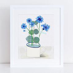 Cornflowers floral – A4 Fine Art Print