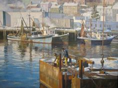 """""""Gloucester Barge Workers,"""" T.M. Nicholas,  oil on canvas, 30 x 40, private collection."""