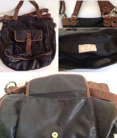 Naturalizer Brown/ Black Faux Leather Crossbody Handbag  #Naturalizer #MessengerCrossBody
