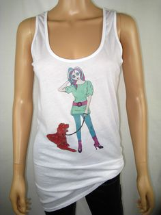 """Alice Brands new """"Alice with Red Setter"""" is one of a large range of women's tops featuring Dog Breeds for those who love their dogs. See them all on: www.etsy.com/shop/AliceBrands. www.alicebrands.co.uk."""