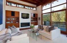 Family room of the luxurious chalet with mountain views