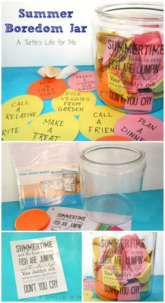 DIY summer boredom jar for kids made with the help of the Silhouette and Clear Sticker Paper