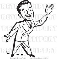 Royalty Free Black And White Retro Vector Clip Art Of A Happy Businessman