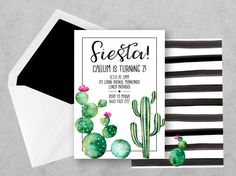 Cactus Birthday Invite, Cactus Birthday Invitation, Cactus Party Invite, Fiesta Birthday Invite, Fiesta Party invite, Printable Cactus by PennyLaneStationery on Etsy