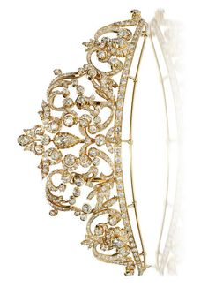 A diamond and eighteen karat gold tiara of tapered and openwork scrolling motif, centering a pear-shaped diamond and further set throughout with old European and old mine-cut diamonds by AnaMaria Quispe Hijar Gold Tiara, Diamond Tiara, Rose Cut Diamond, Royal Crowns, Tiaras And Crowns, Royal Jewelry, Gothic Jewelry, Princess Tiara, Circlet