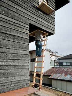"""Terunobu Fujimori - Photo 11 of 23 - The climb to the Coal House tea room is purposely precarious. Fujimori wants visitors to """"be a little afraid"""" on their way up; it's """"a device to make you feel and think differently in this space. House Cladding, Wood Cladding, Exterior Cladding, Cedar Planks, Cedar Siding, Wood Siding, Cedar Paneling, Cedar Wood, Wood Facade"""