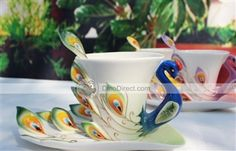 Coffee Cup Set - Lexye Porcelain Enamel Peacock  - DinoDirect.com