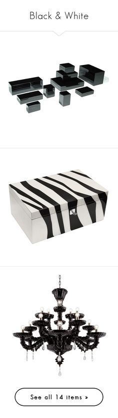 """Black & White"" by instyledecor ❤ liked on Polyvore featuring home, home decor, business card box, desk box, desk organizer, desk set, dressing table box, jewelry storage, bags and gift"