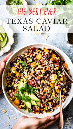This Texas Caviar Salad (aka Cowboy Caviar)loaded with black-eyed peas, corn, tomatoes, peppers, and tangy lime dressing makes the best salad, dip, or side dish. #texascaviar #beans #beansalad #recipe #saladrecipe #healthysalad #foolproofliving