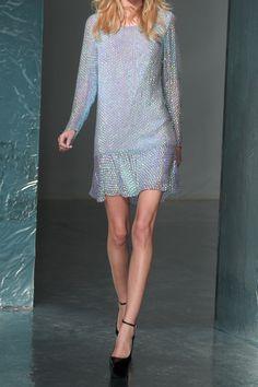 Sequinned silk-blend chiffon dress, Theyskens' Theory