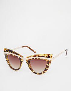 Imagen 1 de Gafas de sol ojos de gato con parte superior de metal y cejas subidas de ASOS