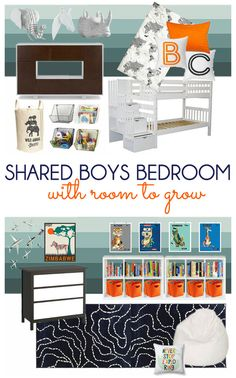 Design plans for a shared boys bedroom with bunk beds. Colorful animal and transportation themed decor perfect for young boys, but with colors and furniture designed to grow with them. Vintage travel posters and white faux taxidermy complete this space. Complete source list included.