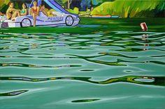 Sára Osgyányi - Balaton beach police oil painting on canvas http://www.magma.hu/muveszek.php?id=57