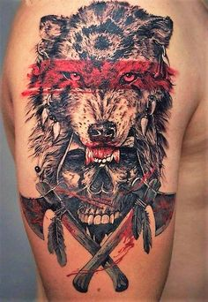Horrific and terrifying wolf and skull tattoo.
