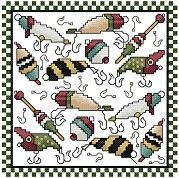 Stoney Creek Online Patterns: bobbers and lures Biscornu Cross Stitch, Cross Stitch Love, Counted Cross Stitch Patterns, Cross Stitch Embroidery, Embroidery Patterns, Loom Patterns, Crochet Patterns, Christmas Cross, Loom Beading