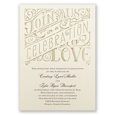 Give guests a glimpse of how gorgeous your wedding will be with this laser-cut, typography wedding invitation! #WeddingInvitation #Typography #DavidsBridal http://www.invitationsbydavidsbridal.com/Wedding-Invitations/Typography-Invitations/2947-DB13387-Celebration-of-Love--Invitation.pro?&sSource=Pinterest&kw=Typography_DB13387