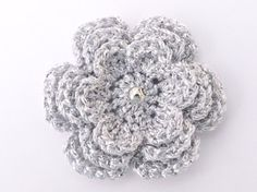 1 Shiny 3 layer silver crochet flower. by MyfanwysAppliques