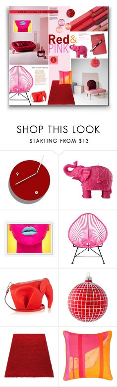"""""""Red & Pink Decor"""" by watereverysunday ❤ liked on Polyvore featuring interior, interiors, interior design, home, home decor, interior decorating, Mario Luca Giusti, West Elm, Dot & Bo and Loewe"""