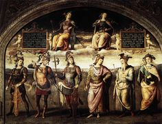 "Perugino, Pietro (1448-1523)  The Fortitude and Temperance with Six Antique Heroes  Date: 1497  Movement: Renaissance (Early Italian, ""Quattrocento"")  Theme: Mythology  Technique: Fresco  Museum: Collegio del Cambio  Location: Perugia, Italy"