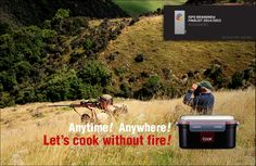 Heats water/food w/o flame.  anytime! anywhere! let's cook without fire!