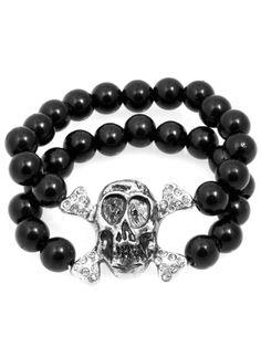 Faux Pearl Skull Bracelet (Black)