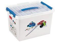 Sunware Q-line Naaibox - Met inzet - 22 l - wit/transparant/blauw