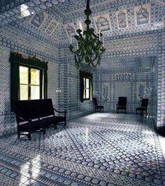 Tente Tartare Delft Tile Interior, garden folly at Chateau de Groussay in France