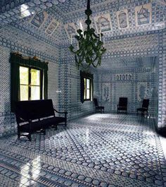 """""""Habitually Chic"""" tours the opulent Chateau de Groussay in France. Pictured is the garden tent interior. A room covered floor-to-ceiling in Delft blue tiles!"""