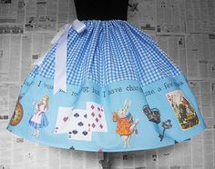 Alice In Wonderland Costume, Tea Party Skirt, Full Skirt, Tea Party Dress,  Fantasy Clothes, Roobys