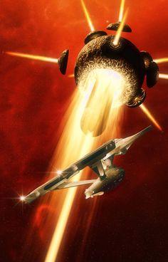 Strange Encounter Star Trek mash up Science Fiction, Fiction Movies, Star Trek Tos, Star Wars, Akira, Star Trek Images, Sci Fi Models, Babylon 5, Sci Fi Ships