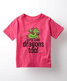 Look what I found on #zulily! Heather Hot Pink 'Kids Love Dragons' Tee - Toddler & Girls #zulilyfinds
