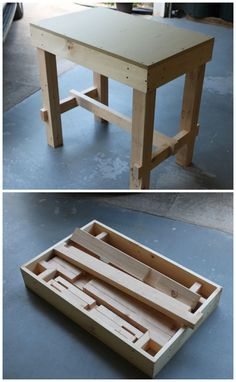 Collapsible Workbench which could be made shorter for a portable jewelers bench #woodworking #jewelrymaking #portable