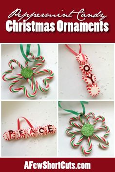 Turn peppermint candy into holiday decor! Try these DIY Peppermint Candy Christmas Ornaments! Inflatable Christmas Decorations, Candy Cane Decorations, Candy Cane Crafts, Homemade Christmas Decorations, Christmas Ornaments To Make, Homemade Christmas Gifts, Christmas Centerpieces, Christmas Crafts For Kids, Xmas Crafts