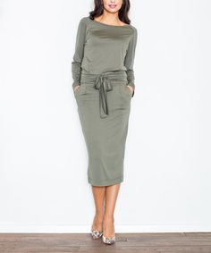 Take a look at this FIGL Olive Tie-Waist Boatneck Midi Dress today!