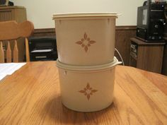 This is a nice pair of tupperware canisters from the sixties or early seventies with tight fitting lids. Tupperware Canisters, Vintage Tupperware, Home Gadgets, Household, Retro, Unique Jewelry, Handmade Gifts, Pattern, Kid Craft Gifts