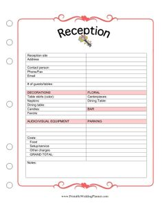You can track all the arrangements for your reception with this Wedding Planner Reception worksheet. Free to download and print