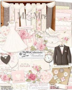 Very cute digital scrapbooking wedding and card making wedding kit.  The perfect blend of elegance in the softly coloured kit that also has many elements and word tags to scrapbook engagement photos or create an engagement card.  FQB - Dearly Beloved Collection by Nitwit Collections™ #digitalscrapbooking #cardmaking