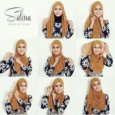 Shawl tutorial for chiffon hijab Square Hijab Tutorial, Simple Hijab Tutorial, Hijab Style Tutorial, Hijab Style Dress, Casual Hijab Outfit, Stylish Hijab, Hijab Chic, Tutorial Hijab Pesta, Hijabs