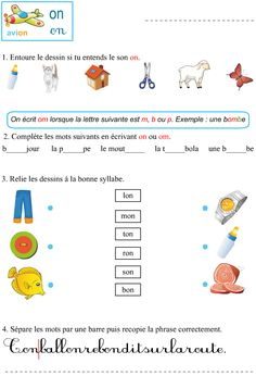 Le son on ; exercices à imprimer French Education, Kids Education, Smurf Village, Teaching French, Learn French, French Language, Phonics, Vocabulary, Activities For Kids
