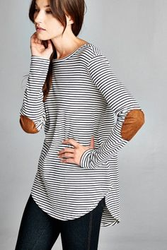 Elbow Patch Striped Long Sleeve Tee – ROUTE 32 Navy and white striped long sleeve tee with cute faux suede elbow patches. Semi-loose fit, round hi-low hem. Made with heavy weight knit fabric that is soft, drapes well and has great stretch. Made in USA 64% Cotton, 23% Poly, 13% Rayon, Contrast: 96% Poly, 4% Spandex Ships FREE in the US