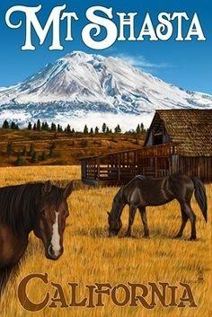 Vintage Travel Poster Mt. Shasta California. Alpine Originals #shoplocal #locallymade
