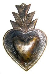 Haitian, Sacred Heart made from oil drums, weather coating can be placed outside or garden 3 x 4 inches 12.95 each
