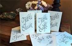 Calligraphy by Paige Tanenbaum Table Signs and Names