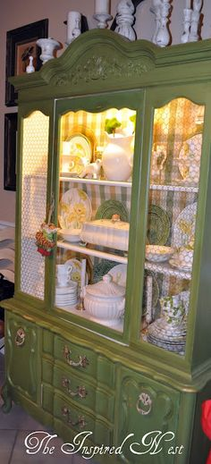 this is what I had in mind to a t for my moms cabinet I want to redo> take out some glass and do chicken wire> and the green paint> or yellow> this is almost identical to it too