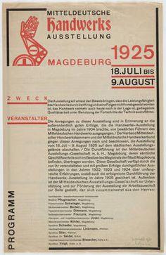 Johannes Molzahn. Mitteldeutsche Handwerks Ausstellung, Programm. 1925