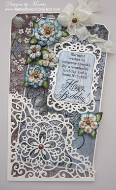 Designed by Marisa Job: Heartfelt Creations Products and Spellbinders Dies - Happy Birthday Tag