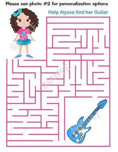 Printable Personalized Rockstar Rock star activity maze girl sheet party favor  Digital Printable DIY file