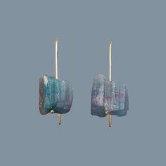 rough tourmaline earings  by Yasek design - http://www.yasekdesignjewelry.com