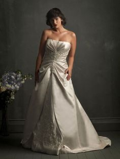 Ball Gown Satin Ruched Bodice Softly Curved Neckline Sweep Train Wedding Dresses